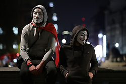 © Licensed to London News Pictures. 05/11/2018. London, UK. Protesters in central London during the 'Million Mask March', led by hacktivist group Anonymous. Photo credit: Rob Pinney/LNP