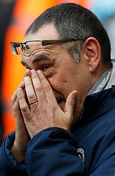 Chelsea manager Maurizio Sarri ahead of kick-off for the Premier League match at the Etihad Stadium, Manchester.