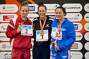 L-R, Oliwia Jablonska (POL), Sophie Pascoe (NZL) and Alice Tai (GBR) on the podium for the Women's 100m Butterfly S10. 2015 IPC Swimming World Championships - Tollcross Swimming Centre, Glasgow, Scotland. Photo credit: Luc Percival Photography.