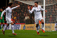 Robin van Persie of Manchester United celebrates scoring the opening goal with Juan Mata of Manchester United (left) during the Barclays Premier League match at Selhurst Park, London<br /> Picture by David Horn/Focus Images Ltd +44 7545 970036<br /> 22/02/2014