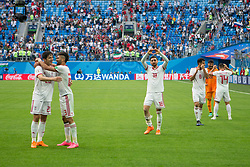 June 15, 2018 - Saint Petersburg, Russia - Iran's players celebrate at full time during the 2018 FIFA World Cup Russia group B match between Morocco and Iran at Saint Petersburg Stadium on June 15, 2018 in Saint Petersburg, Russia. (Credit Image: © Foto Olimpik/NurPhoto via ZUMA Press)