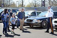 Bensalem Police Lt. David Richardson (right) gives a tour of police vehicles during an open house Sunday, April 10, 2016 at Bensalem Police Station in Bensalem, Pennsylvania.  (Photo by William Thomas Cain)