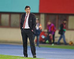 VIENNA, AUSTRIA - Thursday, October 6, 2016: Wales' manager Chris Coleman during the 2018 FIFA World Cup Qualifying Group D match against Austria at the Ernst-Happel-Stadion. (Pic by David Rawcliffe/Propaganda)