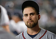 Jul 24, 2017; Phoenix, AZ, USA; Atlanta Braves outfielder Ender Inciarte (11) looks on in the dugout during the game against the Arizona Diamondbacks at Chase Field. Mandatory Credit: Jennifer Stewart-USA TODAY Sports