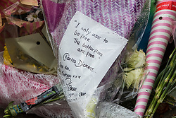 """© Licensed to London News Pictures. 28/03/2018. Liverpool, UK. A note reading """" I only ask to be free. The butterflies are free"""" . Rows of flowers and tributes left outside Ken Dodd's lifetime home in Knotty Ash on the morning of the funeral of comedian and performer Sir Ken Dodd , who died on 11th March 2018 at the age of 90 . Photo credit: Joel Goodman/LNP"""
