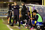 AFC Wimbledon manager Neal Ardley shouting instructions during the EFL Sky Bet League 1 match between AFC Wimbledon and Rochdale at the Cherry Red Records Stadium, Kingston, England on 28 March 2017. Photo by Matthew Redman.