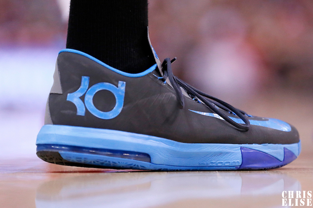 11 May 2014: Close view of Oklahoma City Thunder forward Kevin Durant (35) shoes during the Los Angeles Clippers 101-99 victory over the Oklahoma City Thunder, during Game Four of the Western Conference Semifinals of the NBA Playoffs, at the Staples Center, Los Angeles, California, USA.