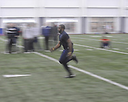 Joel Kight runs the 40 yard dash at Ole Miss Pro Day at the Indoor Practice Facility in Oxford, Miss. on Thursday, March 7, 2013.