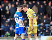 Sid Nelson, Ian Henderson  during the Sky Bet League 1 match between Rochdale and Millwall at Spotland, Rochdale, England on 13 February 2016. Photo by Daniel Youngs.