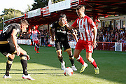 Accrington's Sean McConville takes on the Pompey defence during the EFL Sky Bet League 2 match between Accrington Stanley and Portsmouth at the Fraser Eagle Stadium, Accrington, England on 17 September 2016. Photo by Craig Galloway.