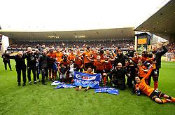 Free to use courtesy of Sky Bet - Wolverhampton Wanderers celebrate winning promotion the Premier League - Mandatory by-line: Robbie Stephenson/JMP - 15/04/2018 - FOOTBALL - Molineux - Wolverhampton, England - Wolverhampton Wanderers v Birmingham City - Sky Bet Championship