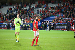 5LILLE, FRANCE - Friday, July 1, 2016: Wales Joe Ledley dances on the pitch as he celebrates the 3-1 victory over Belgium at full time after the UEFA Euro 2016 Championship Quarter-Final match at the Stade Pierre Mauroy. (Pic by Paul Greenwood/Propaganda)