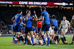 France replacement Rory Kockott celebrates after his side keep England out in the dying moments of the game to deny them the try needed to win the Six Nation Championship - Photo mandatory by-line: Rogan Thomson/JMP - 07966 386802 - 21/03/2015 - SPORT - RUGBY UNION - London, England - Twickenham Stadium - England v France - 2015 RBS Six Nations Championship.