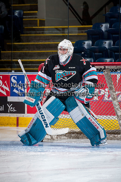 KELOWNA, CANADA - OCTOBER 23: Jackson Whistle #1 of Kelowna Rockets warms up against the Prince George Cougars on October 23, 2015 at Prospera Place in Kelowna, British Columbia, Canada.  (Photo by Marissa Baecker/Shoot the Breeze)  *** Local Caption *** Jackson Whistle;