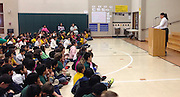 Rosa Parks' niece, Urana McCauley, speaks to students at Daily Elementary School on February 19, 2014.