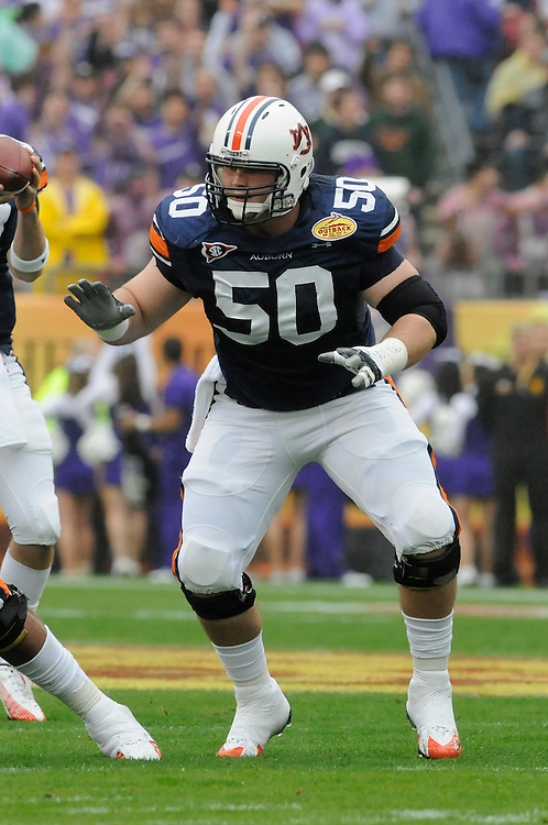 January 1, 2010: Ryan Pugh of the Auburn Tigers in action during the NCAA football game between the Northwestern Wildcats and the Auburn Tigers in the Outback Bowl. The Tigers defeated the Wildcats 38-35 in overtime.