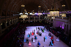 © Licensed to London News Pictures. Dancers waltz in the U21 section at the British Ballroom dance championships at the Winter Gardens in Blackpool 26-05-2015. The first Blackpool Dance Festival was held  in 1920 now has 60 countries represented with total number of 2,950 couples competing.  Photo credit: Nigel Roddis/LNP