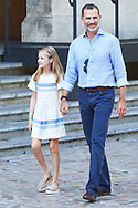 King Felipe VI of Spain, Crown Princess Leonor visit the Miro exhibition at Can Prunera museum in Soller on August 6, 2017 in Balearic Island, Spain