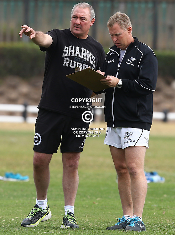 DURBAN, SOUTH AFRICA Monday 29th June 2015 - Gary Gold (Sharks Director of Rugby)  with Mark Steele (Fitness Instructor) during the Cell C Sharks Conditioning training session at Growthpoint Kings Par in Durban, South Africa. (Photo by Steve Haag)