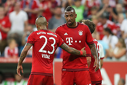 04.08.2015, Allianz Arena, Muenchen, GER, AUDI CUP, FC Bayern Muenchen vs AC Mailand, im Bild Jerome Boateng (FC Bayern Muenchen #17) im Gespraech mit Arturo Vidal (FC Bayern Muenchen #23) // during the 2015 AUDI Cup Match between FC Bayern Muenchen and AC Mailand at the Allianz Arena in Muenchen, Germany on 2015/08/04. EXPA Pictures © 2015, PhotoCredit: EXPA/ Eibner-Pressefoto/ Schüler<br /> <br /> *****ATTENTION - OUT of GER*****
