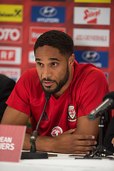 VIENNA, AUSTRIA - Wednesday, October 5, 2016: Wales captain Ashley Williams during a press conference at the Ernst-Happel-Stadion ahead of the 2018 FIFA World Cup Qualifying Group D match against Austria. (Pic by Peter Powell/Propaganda)
