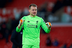 STOKE-ON-TRENT, ENGLAND - Wednesday, November 29, 2017: Liverpool's goalkeeper Simon Mignolet celebrates after the FA Premier League match between Stoke City and Liverpool at the  Bet365 Stadium. (Pic by David Rawcliffe/Propaganda)