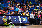 Aerial Powers of the Dallas Wings waits to check in against the Connecticut Sun during a WNBA preseason game in Arlington, Texas on May 8, 2016.  (Cooper Neill for The New York Times)