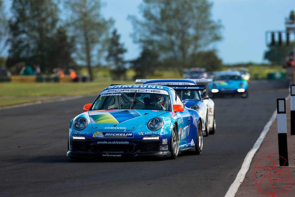 Porsche Carrera Gup GB 2013<br /> Croft Circuit, North Yorkshire<br /> 22nd June<br /> Michael Meadows (GBR) Samsung<br /> Race one<br /> All images copyright Malcolm Griffiths Ltd<br /> Contact:07768 230706<br /> www.malcolm.gb.net