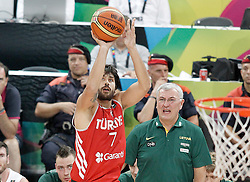 09.09.2014, City Arena, Barcelona, ESP, FIBA WM, Litauen vs Türkei, Viertelfinale, im Bild Turkey's Cenk Akyol // during FIBA Basketball World Cup Spain 2014 quarterfinal match between Lithuania and Turkey at the City Arena in Barcelona, Spain on 2014/09/09. EXPA Pictures © 2014, PhotoCredit: EXPA/ Alterphotos/ Acero<br /> <br /> *****ATTENTION - OUT of ESP, SUI*****