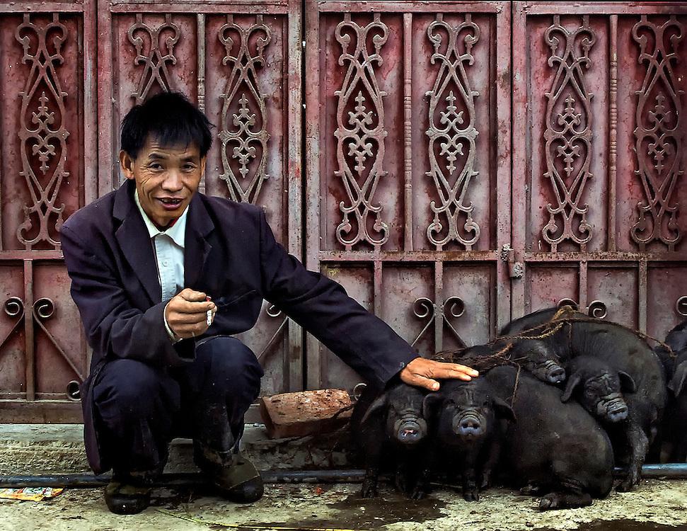 A Hani man with his pigs for sale at the market in Yuanyang, Yunnan, China.