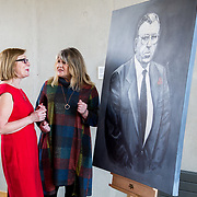 24.03.2017            <br /> Limerick Civic Trust, Marjorie Daly commissioned Jim Kemmy Portrait unveiling by Jan O'Sullivan TD at the Kemmy Business School, University of Limerick. <br /> <br /> Pictured at the event were, Jan O'Sullivan TD and Marjorie Daly, Artist. Picture: Alan Place
