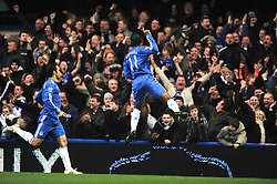 LONDON, ENGLAND - Sunday, February 7, 2010: Chelsea's Didier Drogba celebrates scoring the opening goal during the Premiership match at Stamford Bridge. (Photo by Chris Brunskill/Propaganda)