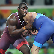 Wrestling - Olympics: Day 10   Mijain Lopez Nunez of Cuba in action against  Johan Magnus Euren of Sweden in the Quarter Finals of the Men's Greco-Roman 130 kg at the Carioca Arena 2 on August 15, 2016 in Rio de Janeiro, Brazil. (Photo by Tim Clayton/Corbis via Getty Images)
