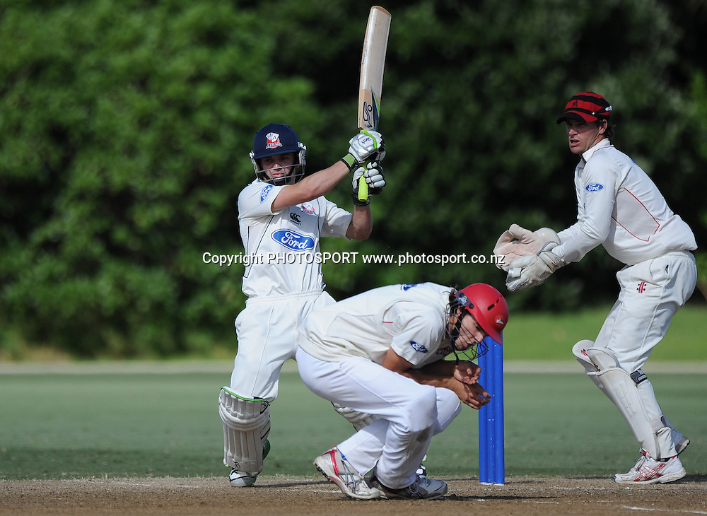 Auckland's Bradley Cachopa batting. Plunket Shield domestic cricket match, Auckland Aces v Canterbury Wizards. Colin Maiden Park, Auckland. Thursday 31 March 2011. Photo: Andrew Cornaga/photosport.co.nz