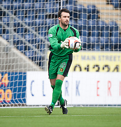 Dumbarton's goalkeeper Jamie Ewings.<br /> Falkirk 1 v 2 Dumbarton, Scottish Championship game played today at the Falkirk Stadium.<br /> &copy;Michael Schofield.