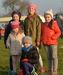 Cousins Eoin, Fionn and Grace Jennings with  Chloe and Caoimhe Crishel supportring Ballinrobe  at during the junior cup clash on sunday last.<br />Pic Conor McKeown