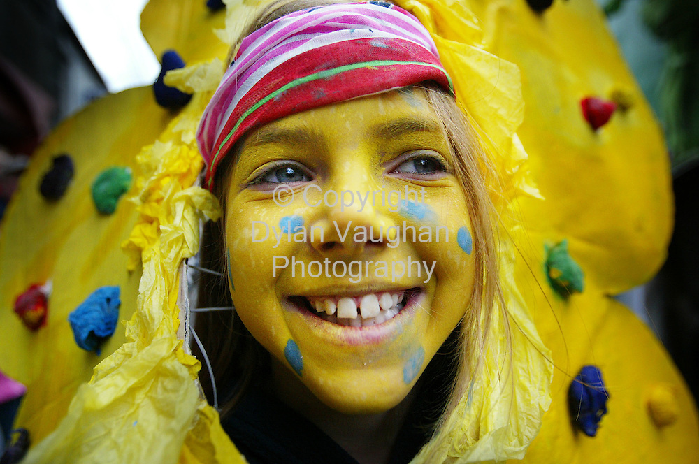 17/3/2004.Ailbhe Coulter aged 10 pictured on High Street in Kilkenny as part of the Green Party Float at the St Patricks Day Parade..Picture Dylan Vaughan