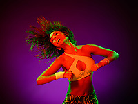 one caucasian woman zumba dancer dancing fitness exercises isolated on colorful background