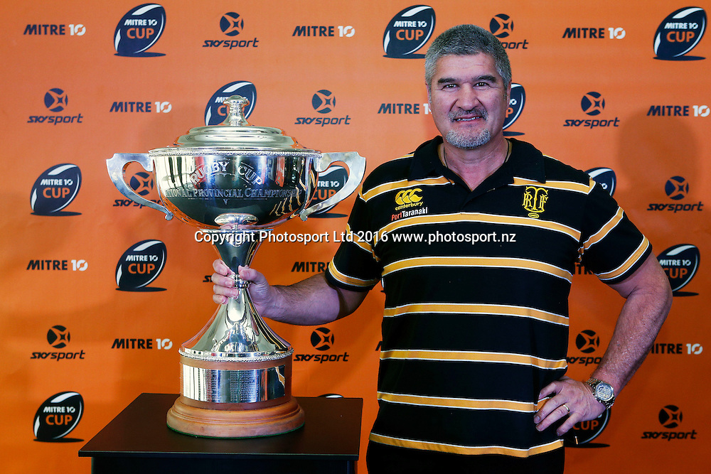 taranaki coach Colin Cooper with the NPC trophy, 2016 Mitre 10 Cup season launch, Eden Rugby Club, Auckland. 9 August 2016. Copyright Image: William Booth / www.photosport.nz