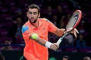 Marin Cilic of Croatia competes at men's single game during the BNP Paribas Davis Cup 2014 between Poland and Croatia at Torwar Hall in Warsaw on April 6, 2014.<br /> <br /> Poland, Warsaw, April 6, 2014<br /> <br /> Picture also available in RAW (NEF) or TIFF format on special request.<br /> <br /> For editorial use only. Any commercial or promotional use requires permission.<br /> <br /> Mandatory credit:<br /> Photo by &copy; Adam Nurkiewicz / Mediasport