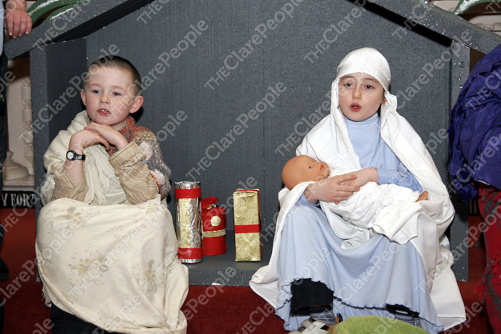 Mary and Joseph better known as Rebecca Doohan and Dillon Clancy practice their lines with each other as they get ready for their Nativity play on Christmas Eve.<br />