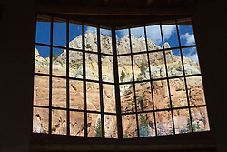 large picture window at the Christ in the Desert Monastery in Abiquiu, NM