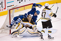 23 November 2015: Toronto Maple Leafs Right Wing PA Parenteau (15) [2515] falls over Boston Bruins Goalie Tuukka Rask (40) [4958] in the third period at Air Canada Centre, Toronto, ON, Canada (Photo by Peter Llewellyn)