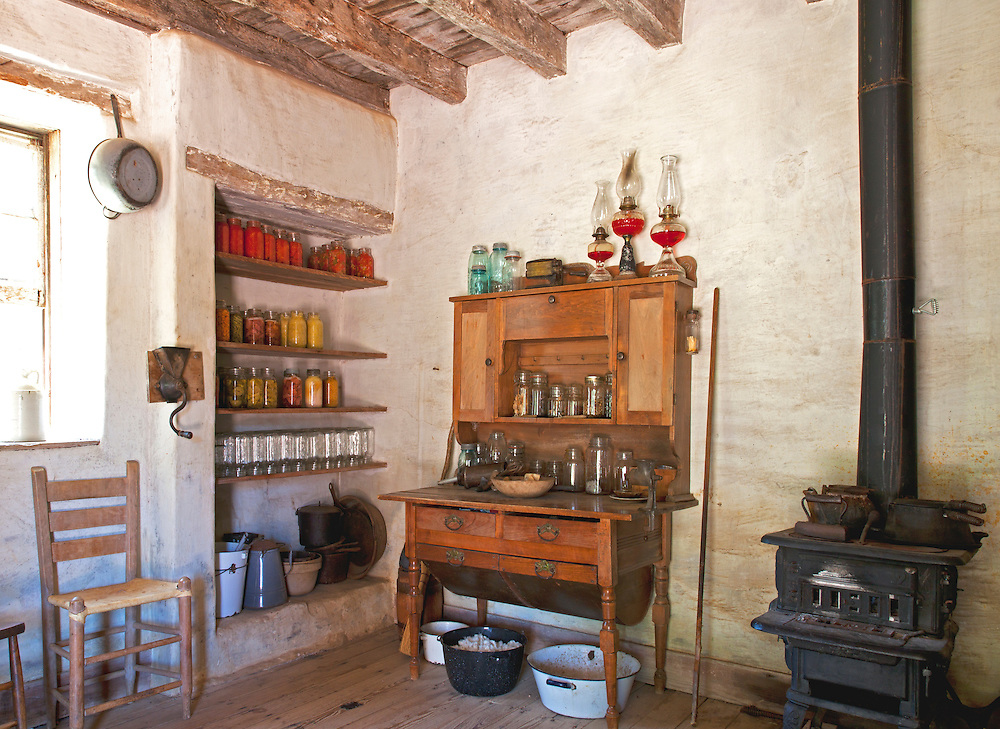 Early 1900s farm kitchen, with no electricity or running water, at the Sauer-Beckman Living History Farm, LBJ State Park and Historic Site.