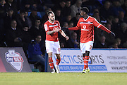 Walsall forward Jordy Hiwula congratulates scorer Walsall forward Milan Lalkovic (0-1) during the Sky Bet League 1 match between Gillingham and Walsall at the MEMS Priestfield Stadium, Gillingham, England on 12 April 2016. Photo by Martin Cole.