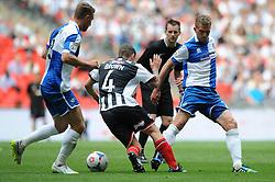 Bristol Rovers' Lee Mansell challenges Grimsby's Scott Brown - Photo mandatory by-line: Dougie Allward/JMP - Mobile: 07966 386802 - 17/05/2015 - SPORT - football - London - Wembley Stadium - Bristol Rovers v Grimsby Town - Vanarama Conference Football