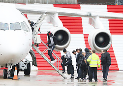 Romelu Lukaku and Henrikh Mkhitaryan as the Manchester United team fly to Wales on Tuesday morning for their Carabao Cup match against Swansea City