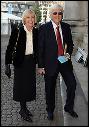 Michael Parkinson arrives with wife Mary Parkinson at Westminster Abbey for the service to celebrate the life and work of Sir David Frost, Westminster Abbey, London, United Kingdom. Thursday, 13th March 2014. Picture by Andrew Parsons / i-Images