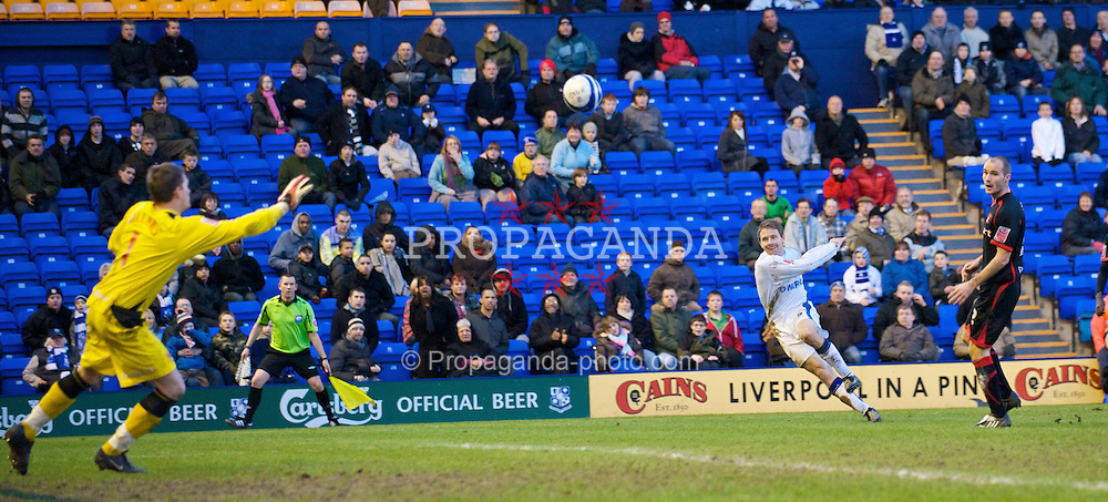 BIRKENHEAD, ENGLAND - Saturday, January 24, 2009: Tranmere Rovers' Ian Moore scores a spectacular second goal, Tranmere Rovers' fourth against Carlisle United during the League One match at Prenton Park. (Mandatory credit: David Rawcliffe/Propaganda)