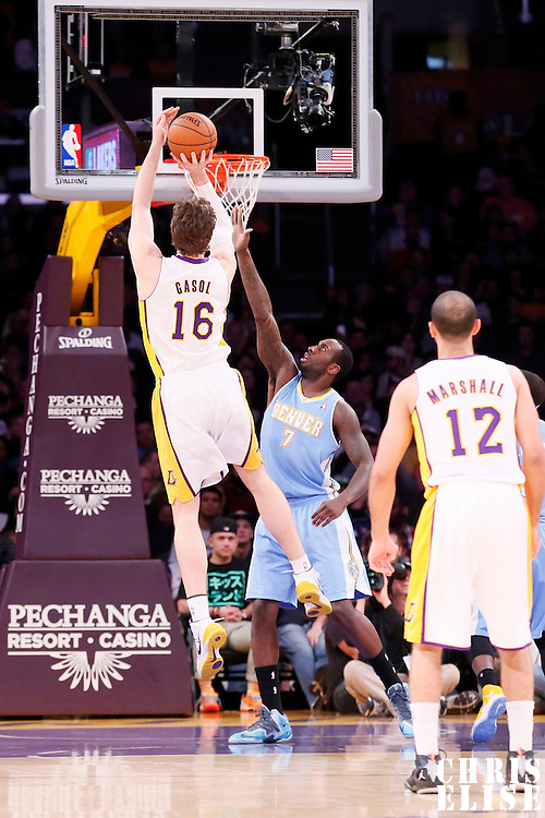 05 January 2014: Los Angeles Lakers center Pau Gasol (16) takes a jumpshot over Denver Nuggets power forward J.J. Hickson (7) during the Denver Nuggets 137-115 victory over the Los Angeles Lakers at the Staples Center, Los Angeles, California, USA.